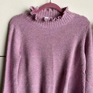 Pink/white balloon sleeve sweater